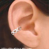 Tiny Hearts silver ear cuff earring jewelry - 925 sterling earcuff 080112