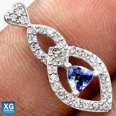 Genuine-Tanzanite-Cubic-Zirconia-925-Sterling-Silver-Pendant-Jewelry-SP81434