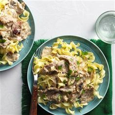 Makeover Beef Stroganoff Recipe -Our pros lightened up this classic dish, slashing calories, saturated fat, sodium and cholesterol, but kept every bit of its satisfying taste. —Candace Clark, Connell, Washington