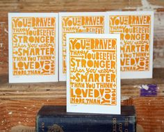 You are Braver than You Believe Inspirational Quote. $3.00, via Etsy.