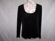 CHICO'S TRAVELERS Shirt Top 1 Slinky Stretch Scoop Neck Long Sleeves M #Chicos #KnitTop #Casual