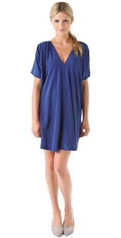 Vince V Neck Silk Dress