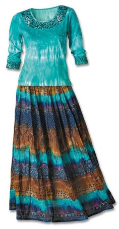Turquoise Aztec Knit Top & Crinkle Skirt Set
