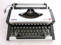 Vintage Olympia manual typewriter black and white by ArtmaVintage