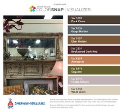 I found these colors with ColorSnap® Visualizer for iPhone by Sherwin-Williams: Dark Clove (SW 9183), Grays Harbor (SW 6236), Über Umber (SW 9107), Rookwood Dark Red (SW 2801), Armagnac (SW 6354), Saguaro (SW 6419), Chaise Mauve (SW 6016), Wool Skein (SW 6148).