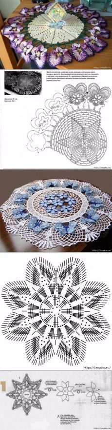 Pretty doily pic and diagram only Freeform Crochet, Thread Crochet, Diy Crochet, Crochet Crafts, Crochet Doilies, Crochet Stitches, Crochet Projects, Crochet Flower Patterns, Doily Patterns