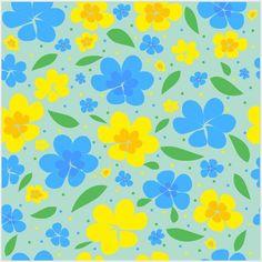 Blumig in Gelb und Blau