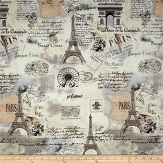 Letters from Paris Paris Map Cream from @fabricdotcom  Designed for Timesless Treasures Fabrics, this cotton fabric is perfect for quilting, apparel and home decor accents. Colors include cream, grey, black and brown.