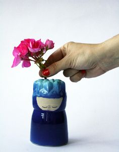 Two Tones of Blue Vase with Smiling Face - wheel thrown, handmade ceramics, one of a kind vase via Etsy