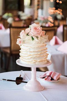 36 Small Wedding Cakes With Big Style ❤ small wedding cakes on a pink stand with ruffles of cream and pink roses allie siarto via instagram #weddingforward #wedding #bride