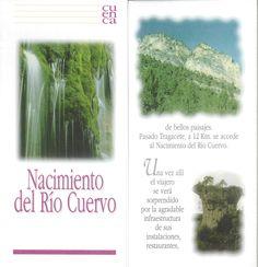 Folleto turístico del Nacimiento del Río Cuervo, Cuenca, con lugares de interés de la zona y plano de recorridos. Patronato de Desarrollo Provincial de Cuenca, 1997. #Cuenca #Turismo