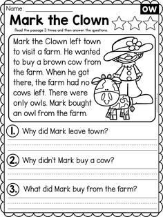 First Grade Reading Comprehension, Phonics Reading, Reading Comprehension Worksheets, Kindergarten Reading, Reading Words, Reading Passages, Reading Skills, Handwriting Worksheets For Kids, English Worksheets For Kindergarten