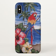 Colorful Macaws Hawaiian Beach Summer Scene iPhone X Case - elegant gifts gift ideas custom presents