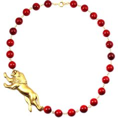 Red Statement Necklace | Lion Necklace from Manic Trout Jewelry hand... (4.440 RUB) ❤ liked on Polyvore featuring jewelry, necklaces, red jewellery, statement necklace, red necklace, lion necklace and red statement necklace