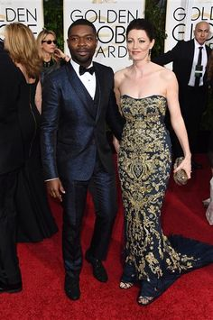 David Oyelowo and Jessica Oyelowo arrive at the 72nd annual Golden Globe Awards at the Beverly Hilton Hotel in Beverly Hills, Calif., on Jan. 11, 2015.