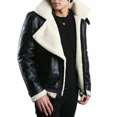 FLATSEVEN Mens Genuine Leather Jacket Winter Coats Sheepskin Rider FLATSEVEN is a mens designer fashion brand which specializes in mens clothing and accessories Blazer Fashion, Mens Fashion, Fashion Menswear, Fashion Brand, Herren Winter, Mens Winter, Mustang, Designer Clothes For Men, Designer Clothing