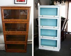 Beautiful painted barrister bookcase before & after. From drab & dated to fresh and modern! | Onyx Fox Furniture Revivals