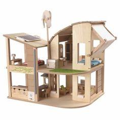 PLANTOYS Puppenhaus ÖKO komplett mit Möbeln