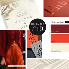 Pantone Colors: Biking Red, Fiësta, Vanilla Custard -- Follow Paper Couture Studio on Instagram and Facebook! @papercouturestudio -- Vanilla Custard, Latest Colour, Couture, Pantone Color, Color Trends, Biking, Palette, Boards, Style Inspiration