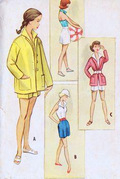 1950s Teen Halter Top Shorts and Jacket Vintage by MissBettysAttic