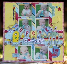 Cupcake Monster - A great use of grouped square photos with adorable embellishments. #scrapbooking