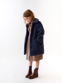 Long fleece fluffy navy blue coat for cozy winter for children girls Baby Girl Fashion, Fashion Kids, Style Hipster, Faux Shearling Coat, Kid Poses, Kids Coats, Zara Kids, Kids Wear, Kids Girls
