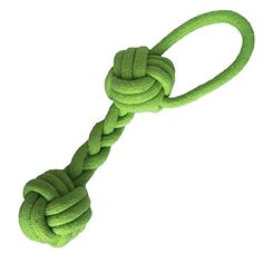 Pet Puppy Dog Cotton Rope Chew Toys Bone Teeth Cleaning with Tug Double Ball Knot Green -- Read more reviews of the product by visiting the link on the image.