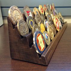 17 Inch Wide- 4 Tier - Solid Hardwood - You Customize - Challenge Coin Holder - Holds 36-40 Coins (Castle Wall Style)