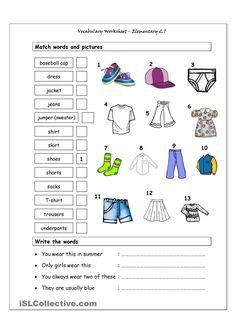 Vocabulary Matching Worksheet - Elementary 2.7 (CLOTHES)