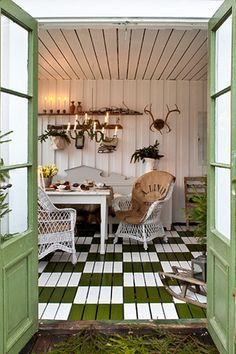 Shed Plans - my garden shed.love the floor Now You Can Build ANY Shed In A Weekend Even If You've Zero Woodworking Experience! Outdoor Sheds, Outdoor Rooms, Outdoor Living, Outdoor Furniture Sets, Outdoor Decor, Furniture Plans, Kids Furniture, Garden Cottage, Home And Garden