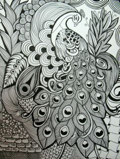 Peacock in a zentangle style art using pen & ink, original artwork. 11 x 14 size with black matboard. Mandalas Drawing, Zentangle Drawings, Mandala Art, Zentangles, Art Drawings, Peacock Drawing, Peacock Painting, Peacock Art, Madhubani Art
