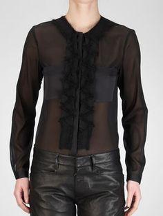 Bottega Veneta Nero Chiffon Silk Mohair Blouse