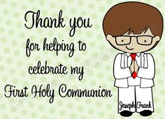 DIY Printable First Holy Communion Thank You Note by 2MBowtique, $5.99