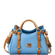 Dooney & Bourke: Dillen Small Satchel w/Tan Trim. Cute Handbags, Purses And Handbags, Leather Handbags, Types Of Bag, One Bag, Dooney Bourke, Satchel, Virtual Closet, Hand Bags