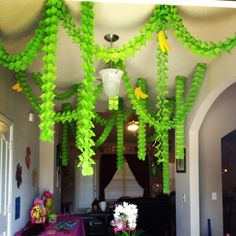 Monkey party / Jungle Party: I did jungle vines with bananas at the entrance of Lizzie's Monkey Love party! Streamers from party city.
