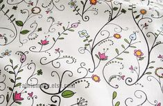 Flower Fabric White Cotton Linen Fabric with Spring by fabricmade $15/yd plus shipping