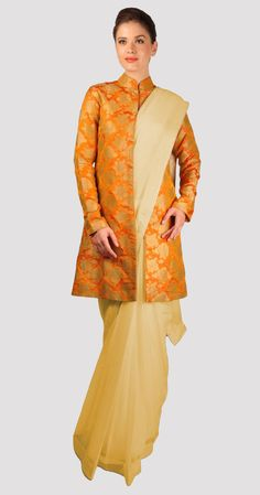 Burnt Orange And Gold Zari Weave Pure Brocade Silk Jacket With Saree