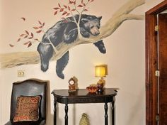trees+painted+on+walls | Bear on Hand Painted Design Beautiful Hand Painted Living Room Murals ...