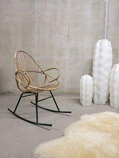 Vintage rotan schommelstoel rocking chair Rohe  