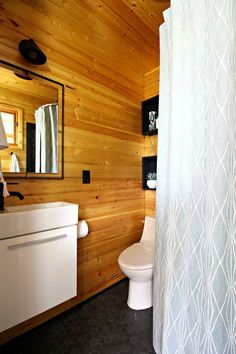 Modern Cabin Bunkie Bathroom Renovation with Charcoal Hex Tile, Matte Black Faucet and Fixtures, and lots of DIY Projects. Small Cottage Bathrooms, Small Bathroom, Bathroom Ideas, Design Bathroom, Bathroom Inspiration, Shower Ideas, Scandinavian Cottage, Modern Cottage, Scandinavian Modern
