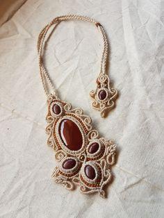 Cornalina y jaspe rojo collar