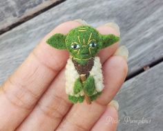 Star Wars Plush Toy, Miniature Felt Yoda, Yoda Stuffed Plush, Tiny Felt Yoda, Miniature Felted Yoda, Handmade Master Yoda, Yoda Plushie