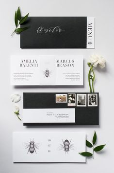 Black and white wedding invitations with matching envelopes. 🎶 #WeddingInvitations #WeddingInvites #WeddingPlanning #Weddings #Wedding #Invitations #Stationery #BrideToBe #WeddingIdeas #WeddingInspiration