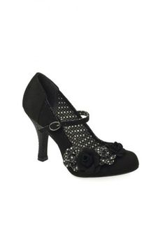 Ruby Shoo shoes O Hara black Mary Jane heeled shoes with flower corsage and polka lining