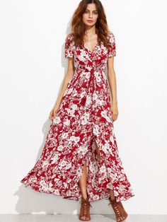 Vestido floral con cordón flecos y abertura - borgoña