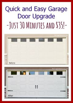 Fast and easy garage door upgrade for instant curb appeal! Just $35 (or less!) and 30 minutes to make a plain garage door look custom.