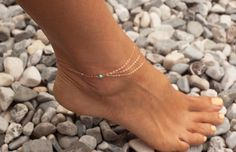 Rose gold filled anklet with three layers and turquoise beads on both sides. Product info:  ➤ All components are 14k rose gold filled / sterling