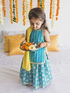 Lehenga Set Blue Floral Baby Girl Frocks, Baby Girl Party Dresses, Kids Frocks, Dresses Kids Girl, Kids Outfits Girls, Kids Lehenga, Baby Girl Lehenga, Baby Girl Fashion, Kids Fashion