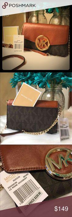 NWT Michael Kors Hudson Lg Wallet Crossbody NWT 💞 MK brown leather flap with MK monogram. Gold tone hardware. Magnetic front flap. 1 exterior back slip-in pocket. 3 ID/credit card pocket. 1 zip pocket. 2 open compartments. Michael Kors Bags Crossbody Bags