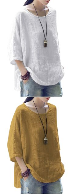 59% OFF! Vintage Loose Pure Color 3/4 Sleeves Baggy Shirts. SHOP NOW!